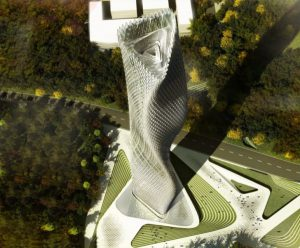 A building in development in Taiwan is covered in a skin of tiny wind-turbines which willpower the tower